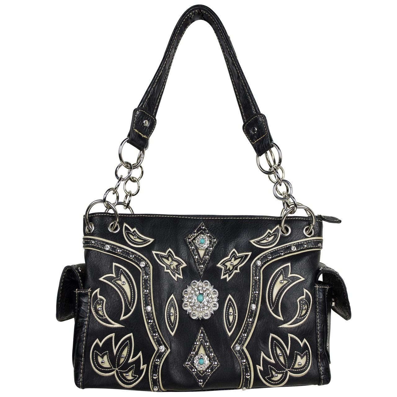 BLACK WESTERN BLUE STONE LOOK SHOULDER HANDBAG HB1-39W17BLK