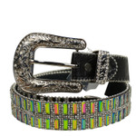 BLACK MULTICOLOR STONE GENUINE LEATHER WESTERN STONE BELT LB1-1321-2BLK