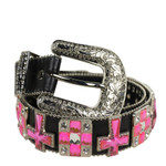 BLACK PINK CROSS STONE GENUINE LEATHER WESTERN STONE BELT LB1-1213BLK