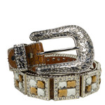 BROWN RHINESTONE GENUINE LEATHER WESTERN STONE BELT LB1-1193BRN