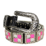 BLACK WITH PINK RHINESTONE GENUINE LEATHER WESTERN STONE BELT LB1-1193PNK
