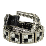 BLACK RHINESTONE GENUINE LEATHER WESTERN STONE BELT LB1-1193BLK