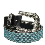BLACK WITH BLUE RHINESTONE GENUINE LEATHER WESTERN STONE BELT LB1-1317-3BLK