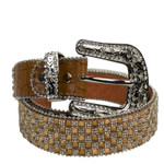 BROWN RHINESTONE GENUINE LEATHER WESTERN STONE BELT LB1-1317-4BRN