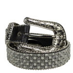 BLACK WITH GRAY RHINESTONE GENUINE LEATHER WESTERN STONE BELT LB1-1317-2BLK