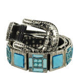BLUE RHINESTONE GENUINE LEATHER WESTERN STONE BELT LB1-1316-4BLU