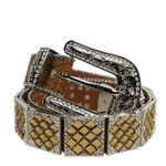 BROWN WITH BROWN RHINESTONE GENUINE LEATHER WESTERN STONE BELT LB1-1309-3BRN