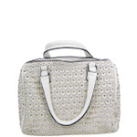 WHITE FULL METALLIC RHINESTONE LOOK SHOULDER HANDBAG HB1-CA1600WHT
