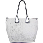 WHITE FULL METALLIC RHINESTONE LOOK SHOULDER HANDBAG HB1-AB8708WHT