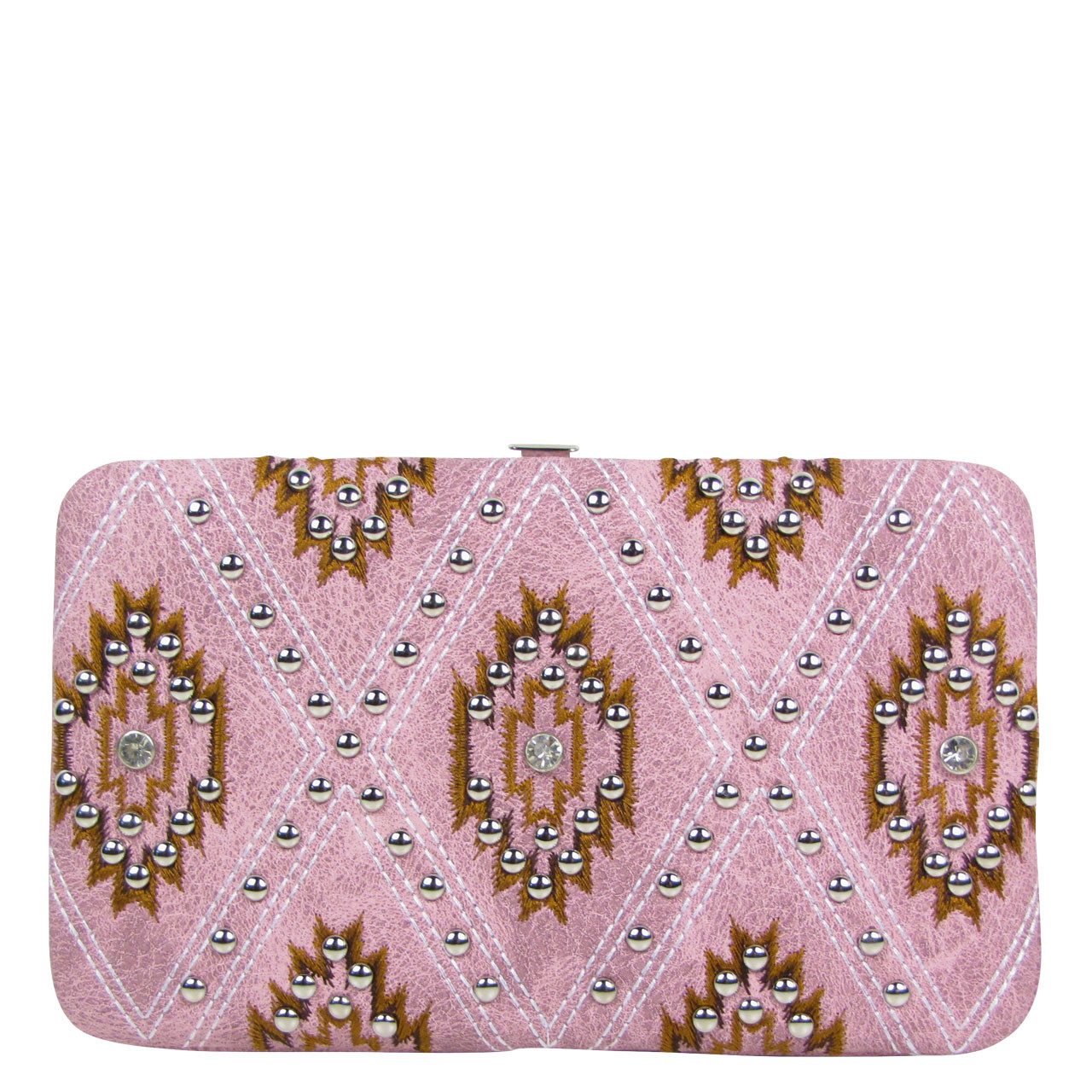 PINK STUDDED RHINESTONE LOOK FLAT THICK WALLET FW2-12122PNK