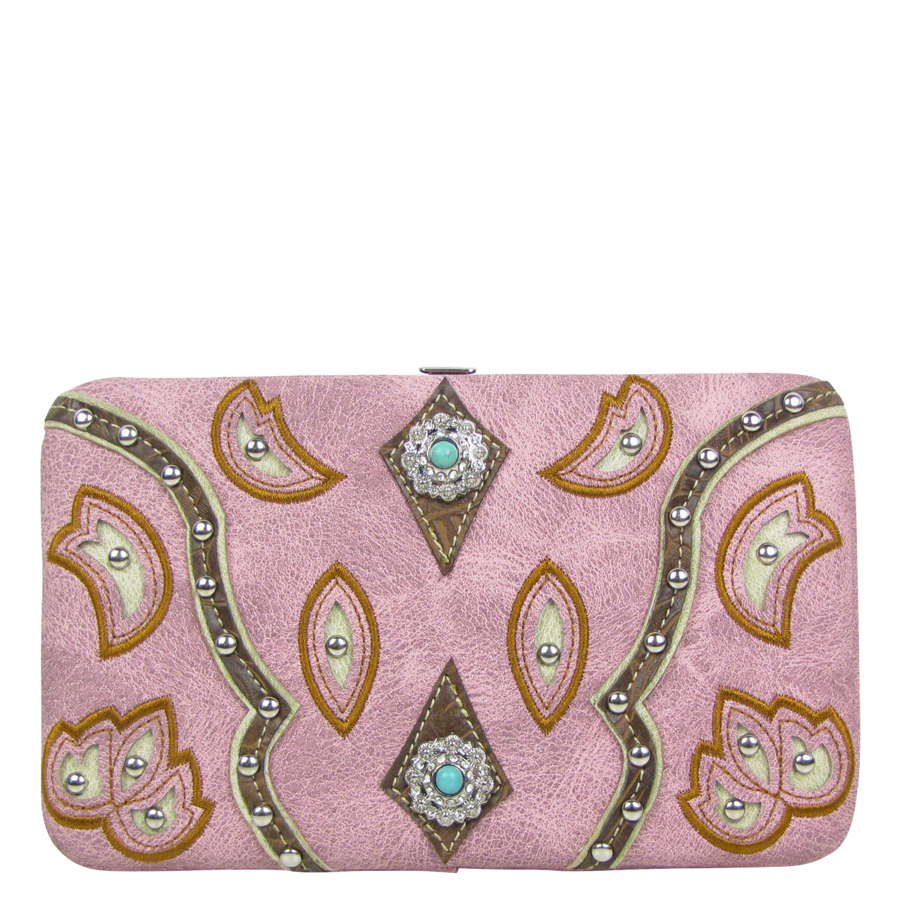PINK STUDDED LOOK FLAT THICK WALLET FW2-12123PNK