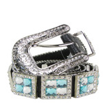 BLUE RHINESTONE GENUINE LEATHER WESTERN STONE BELT LB1-1193BLU