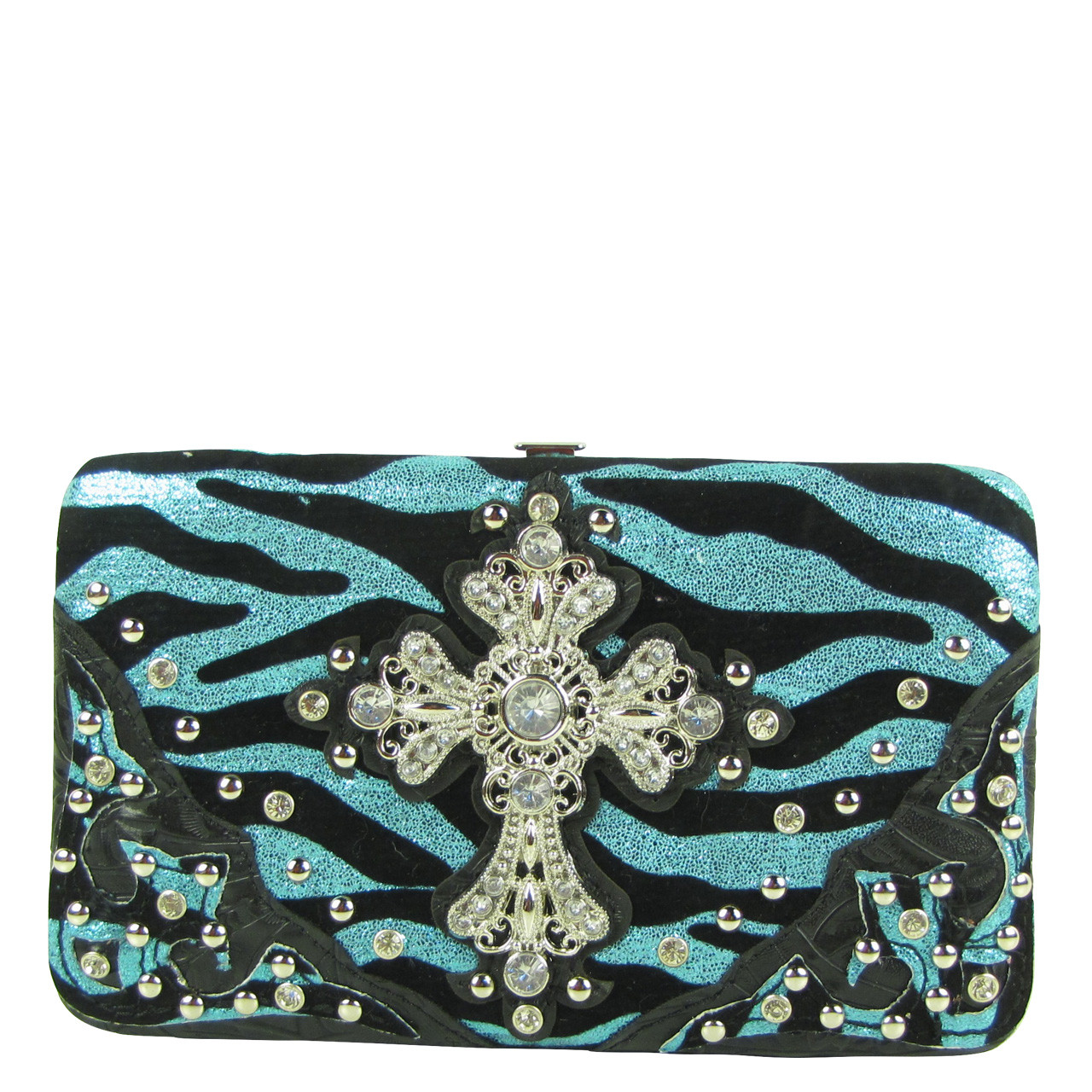 TURQUOISE STUDDED RHINESTONE ZEBRA CROSS LOOK FLAT THICK WALLET FW2-04126TRQ