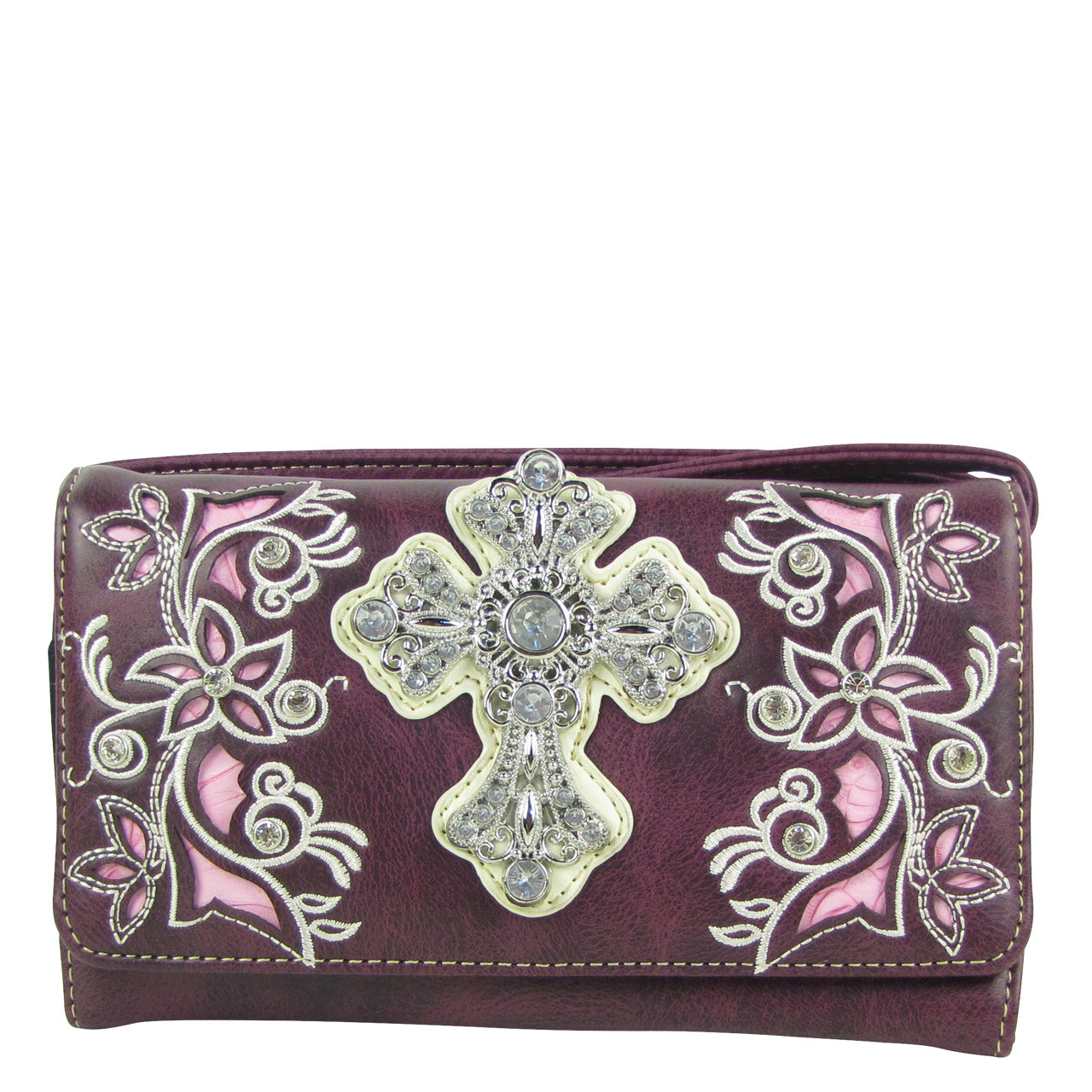 PURPLE RHINESTONE FLOWER CROSS LOOK CLUTCH TRIFOLD WALLET CW1-0471PPL