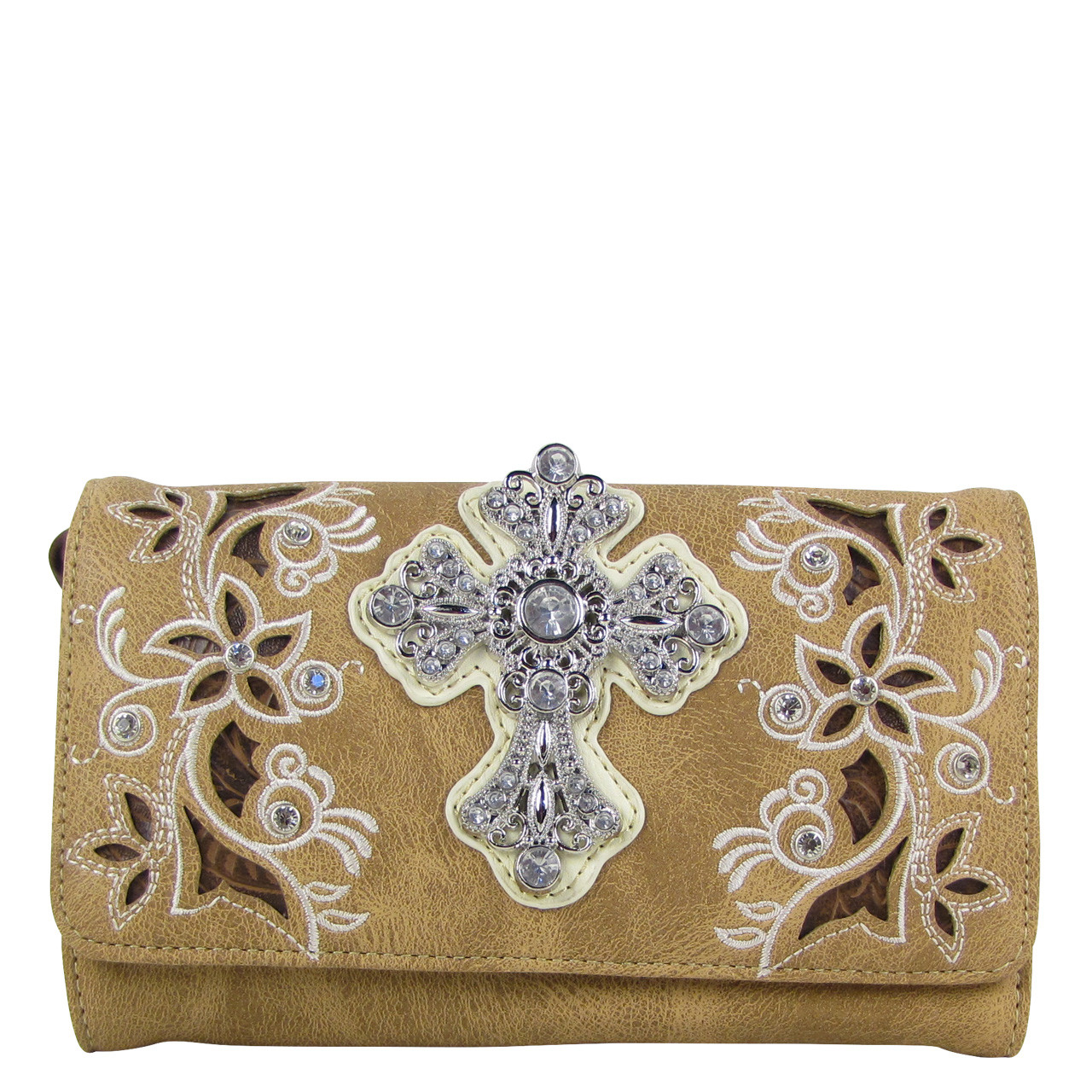 BROWN RHINESTONE FLOWER CROSS LOOK CLUTCH TRIFOLD WALLET CW1-0471BRN