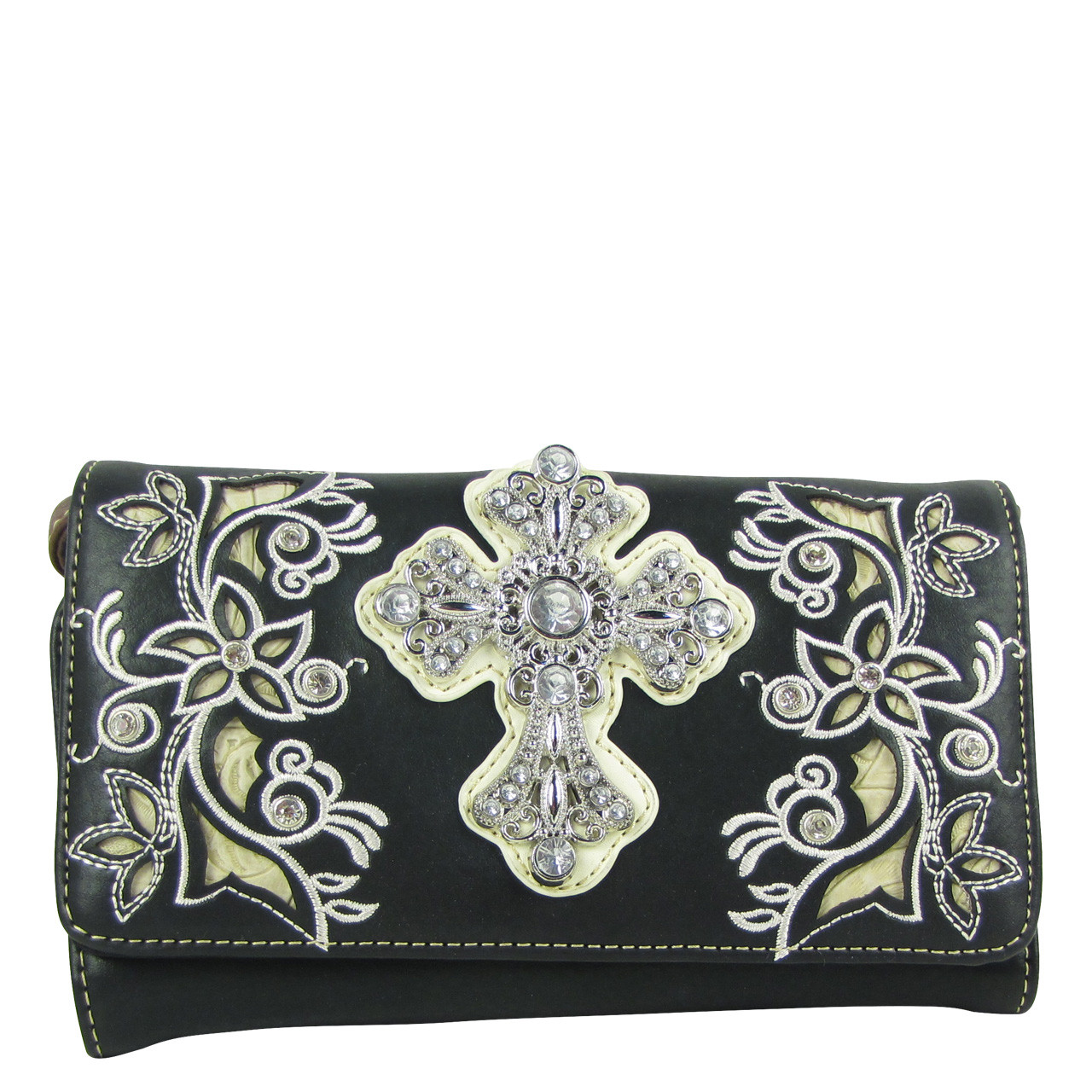 BLACK RHINESTONE FLOWER CROSS LOOK CLUTCH TRIFOLD WALLET CW1-0471BLK