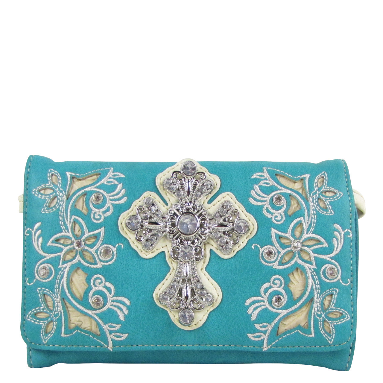 TURQUOISE RHINESTONE FLOWER CROSS LOOK CLUTCH TRIFOLD WALLET CW1-0471TRQ