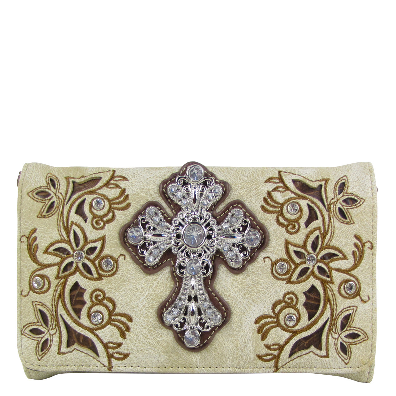 BEIGE RHINESTONE FLOWER CROSS LOOK CLUTCH TRIFOLD WALLET CW1-0471BEI