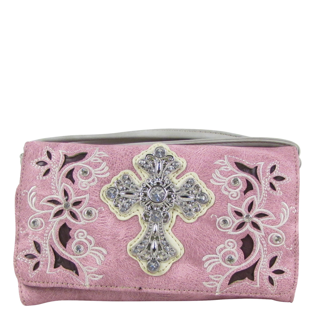 PINK RHINESTONE FLOWER CROSS LOOK CLUTCH TRIFOLD WALLET CW1-0471PNK
