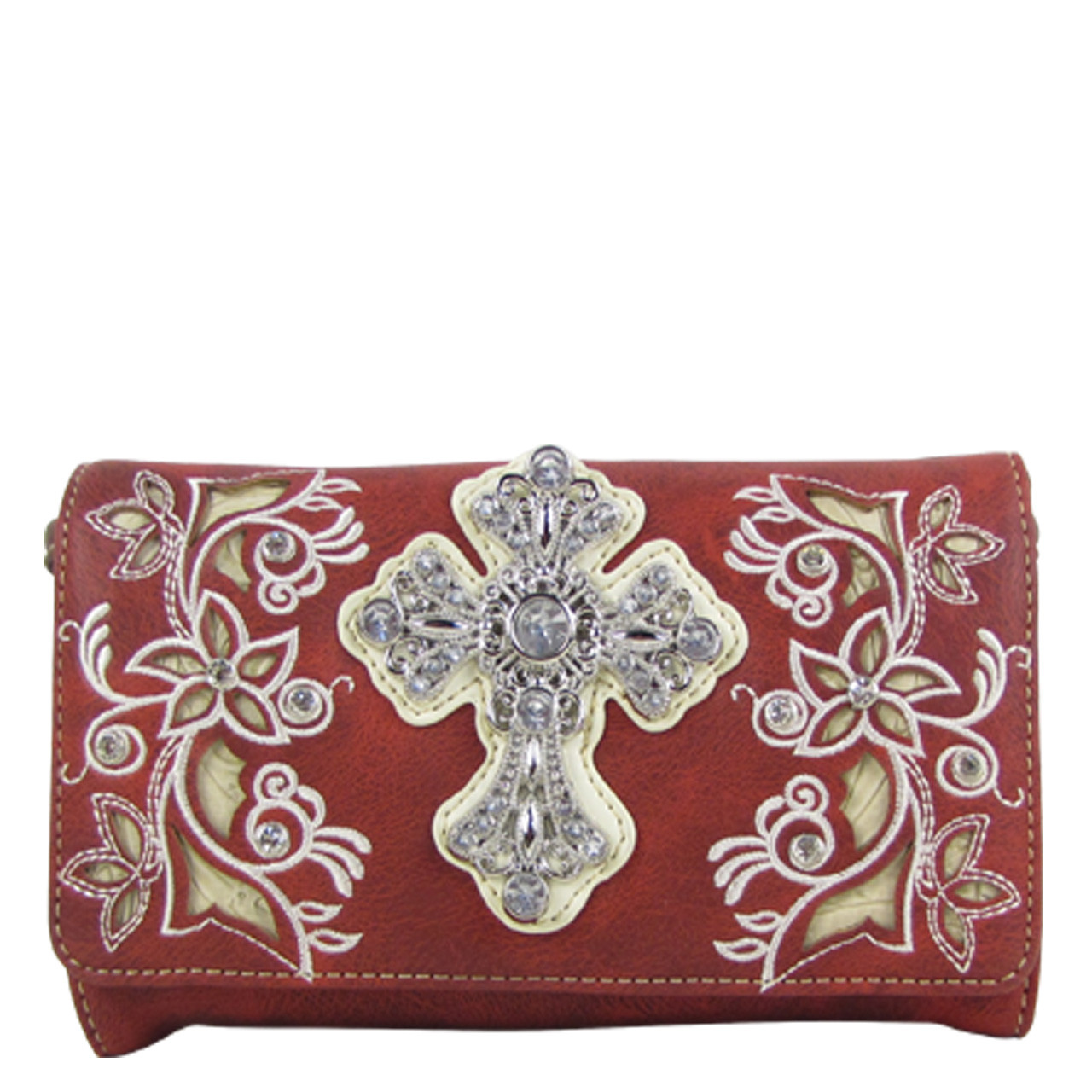 RED RHINESTONE FLOWER CROSS LOOK CLUTCH TRIFOLD WALLET CW1-0471RED