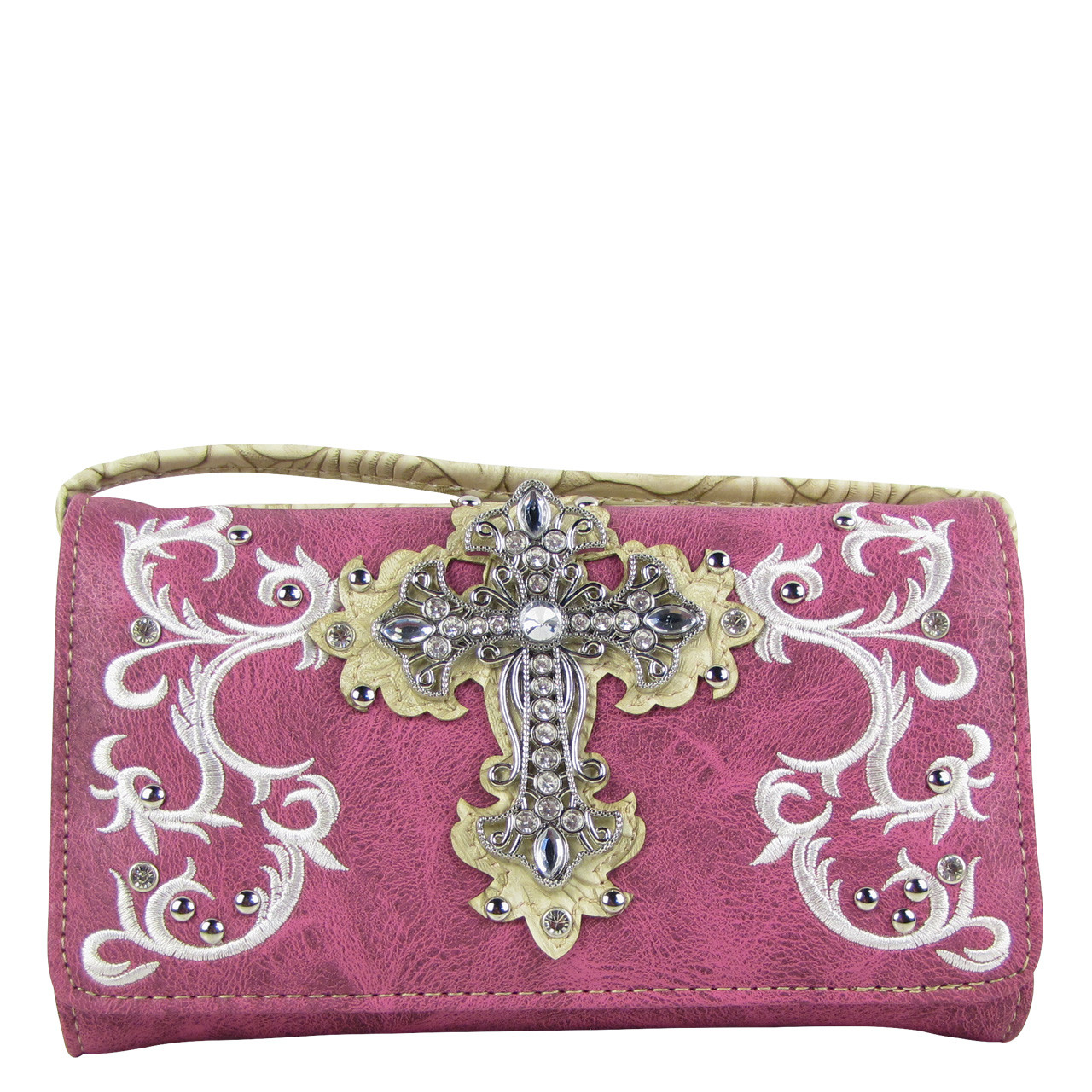 PURPLE RHINESTONE CROSS LOOK CLUTCH TRIFOLD WALLET CW1-0472PPL