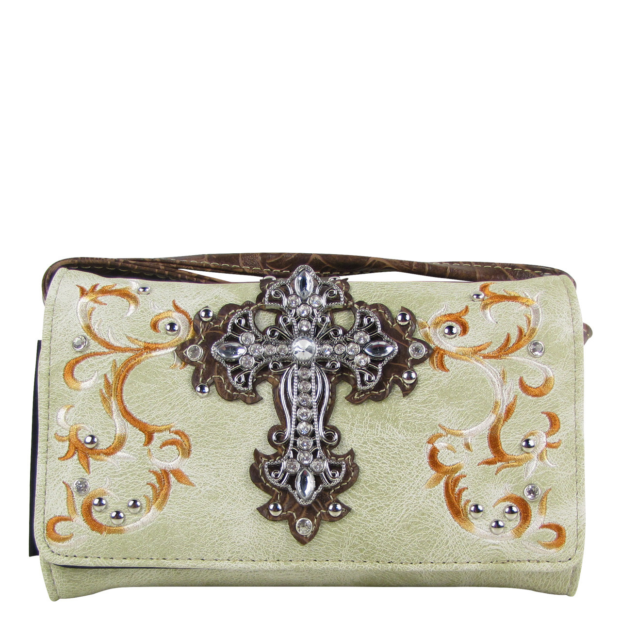 BEIGE RHINESTONE CROSS LOOK CLUTCH TRIFOLD WALLET CW1-0472BEI