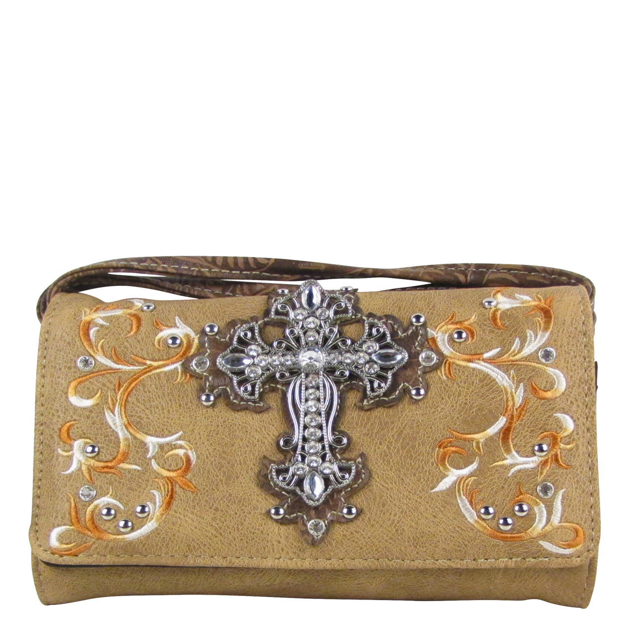 BROWN RHINESTONE CROSS LOOK CLUTCH TRIFOLD WALLET CW1-0472BRN