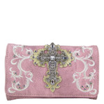 PINK RHINESTONE CROSS LOOK CLUTCH TRIFOLD WALLET CW1-0472PNK