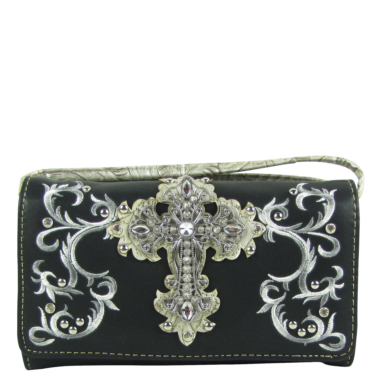 BLACK RHINESTONE CROSS LOOK CLUTCH TRIFOLD WALLET CW1-0472BLK