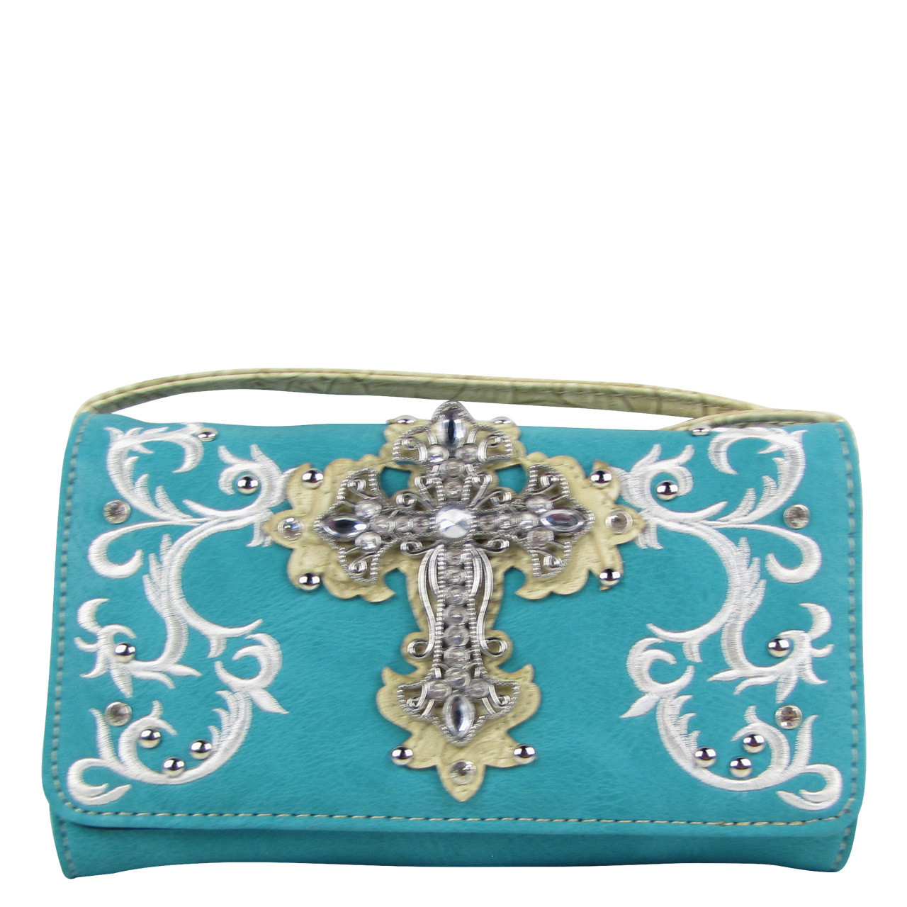 TURQUOISE RHINESTONE CROSS LOOK CLUTCH TRIFOLD WALLET CW1-0472TRQ