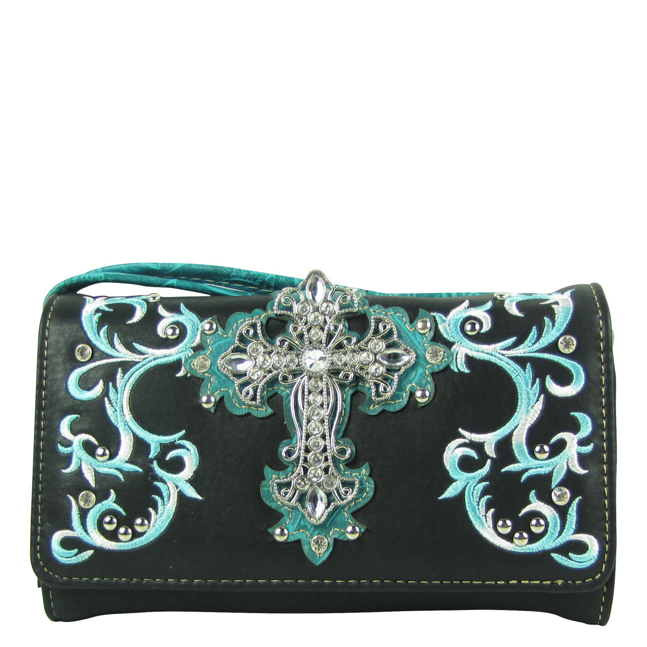 BLACK TURQUOISE RHINESTONE CROSS LOOK CLUTCH TRIFOLD WALLET CW1-0472BLK/TRQ