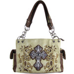 BEIGE FLOWER RHINESTONE CROSS LOOK SHOULDER HANDBAG HB1-84LCRBEI