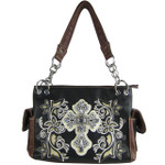 BLACK FLOWER RHINESTONE CROSS LOOK SHOULDER HANDBAG HB1-84LCRBLK