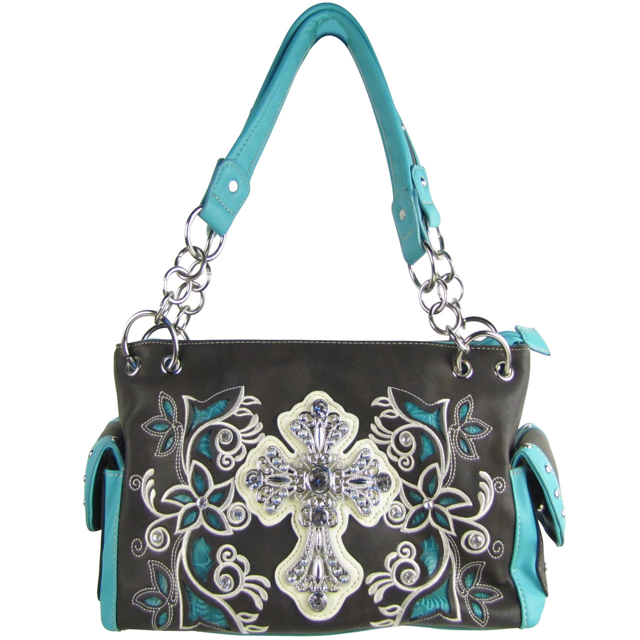 BLACK TURQUOISE FLOWER RHINESTONE CROSS LOOK SHOULDER HANDBAG HB1-84LCRBLK/TRQ