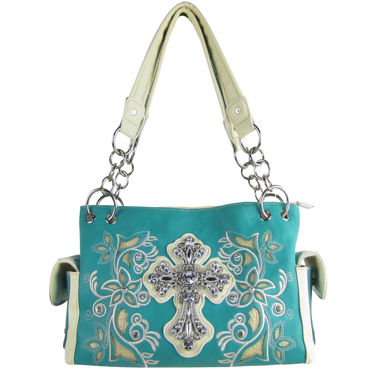 TURQUOISE FLOWER RHINESTONE CROSS LOOK SHOULDER HANDBAG HB1-84LCRTRQ
