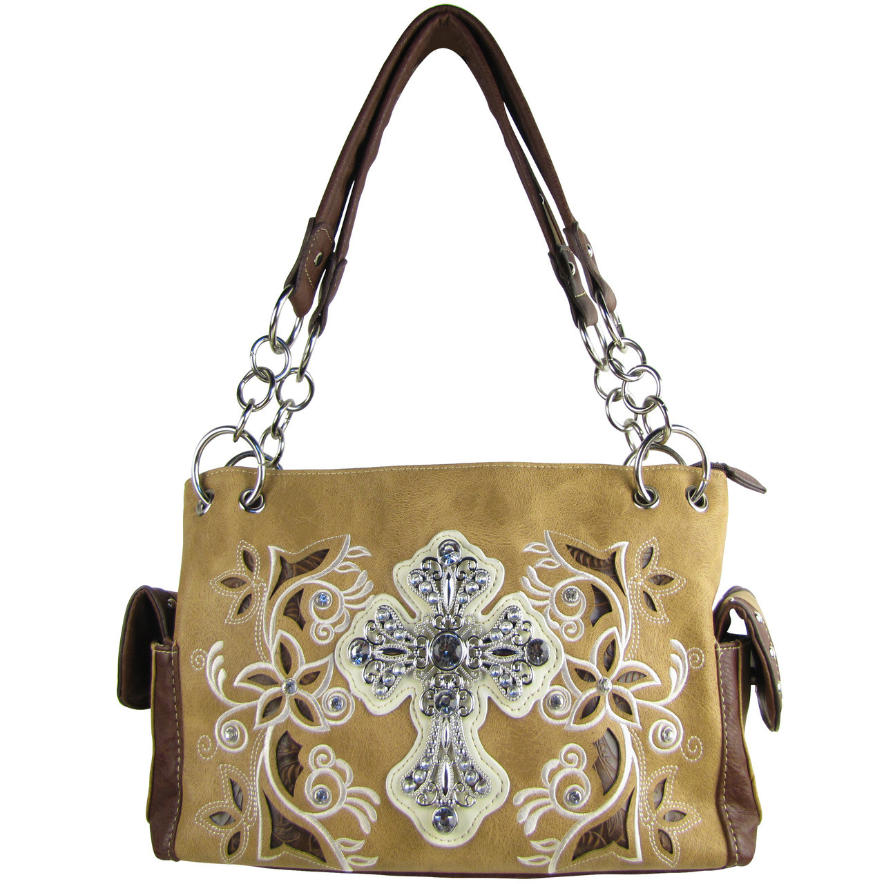 BROWN FLOWER RHINESTONE CROSS LOOK SHOULDER HANDBAG HB1-84LCRBRN