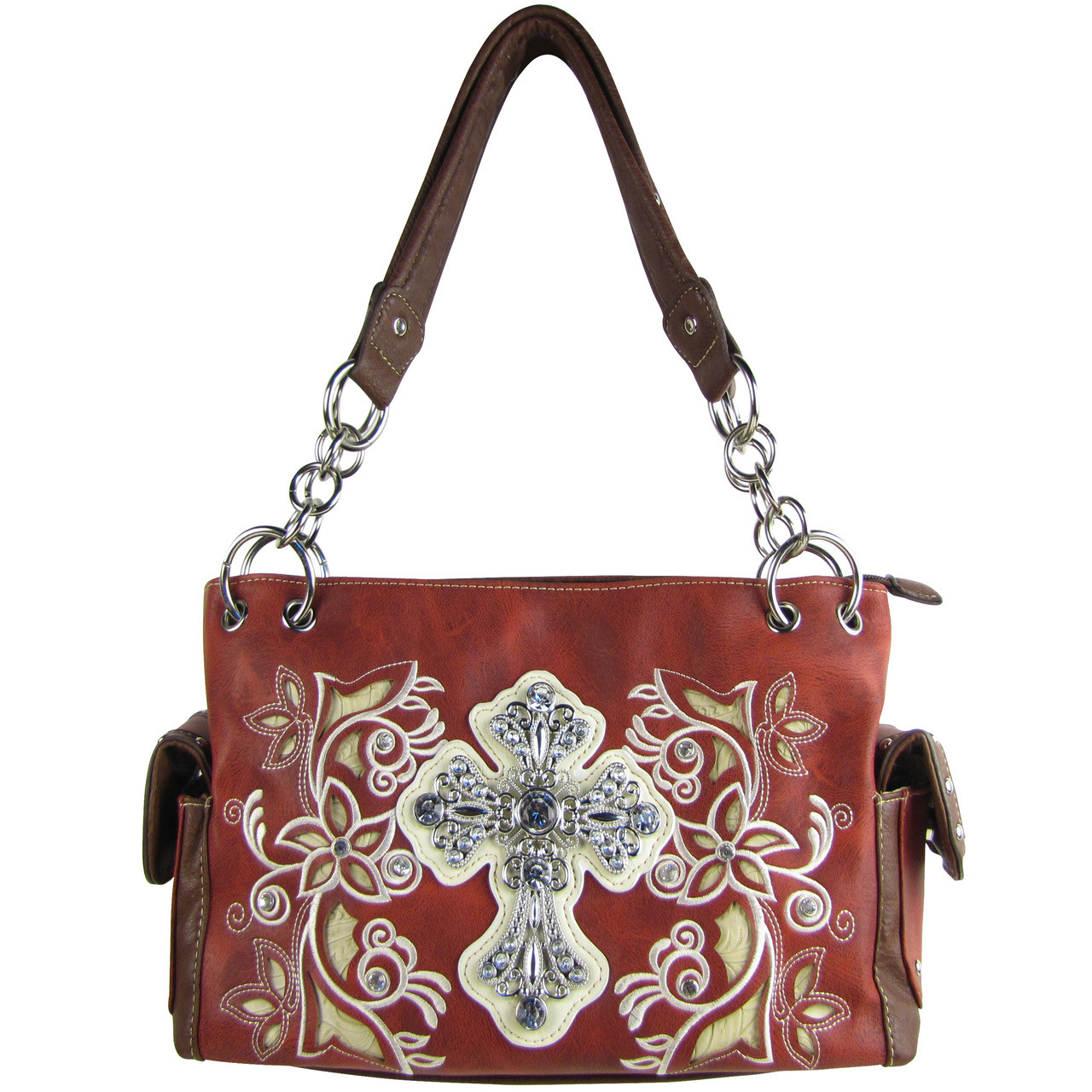 RED FLOWER RHINESTONE CROSS LOOK SHOULDER HANDBAG HB1-84LCRRED