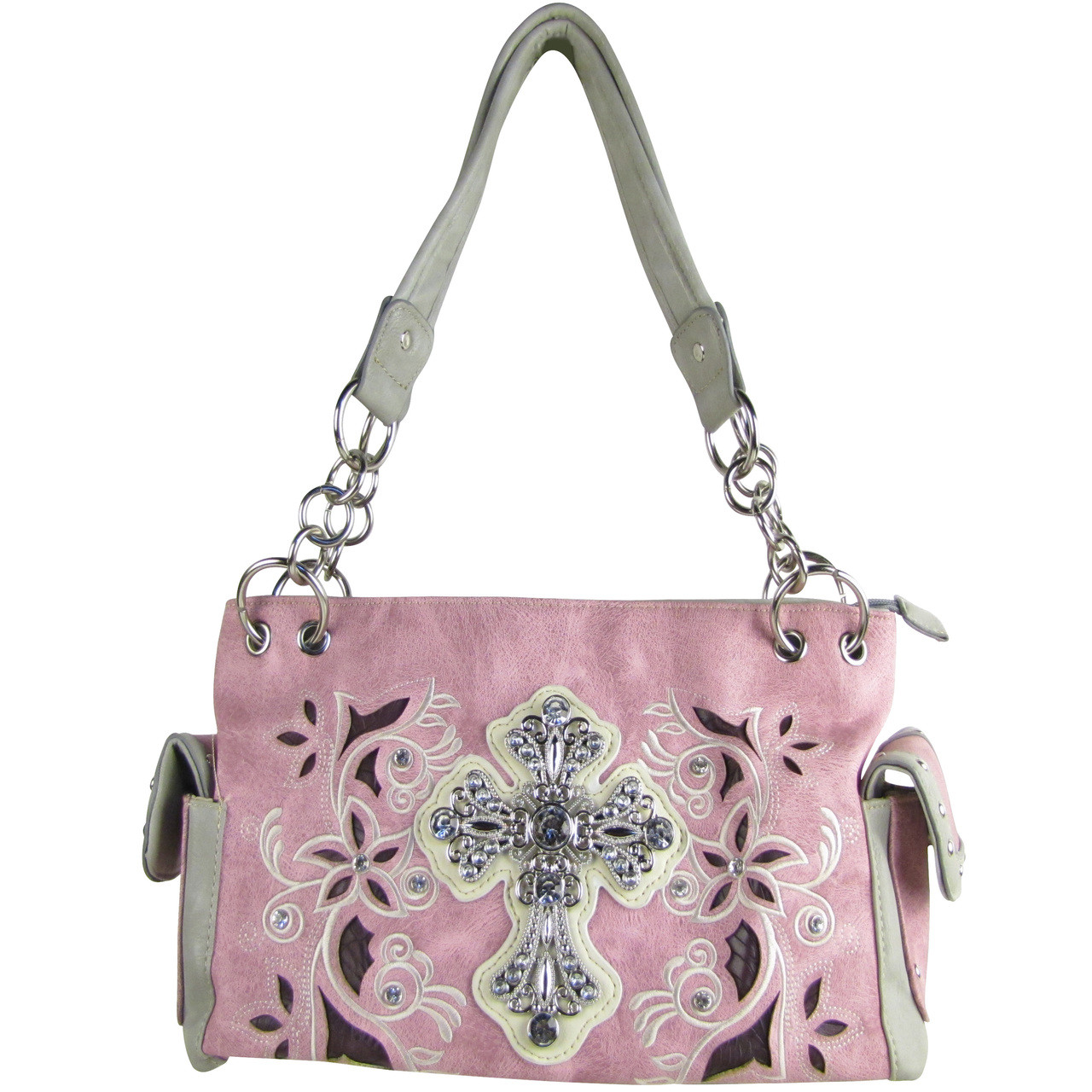 PINK FLOWER RHINESTONE CROSS LOOK SHOULDER HANDBAG HB1-84LCRPNK
