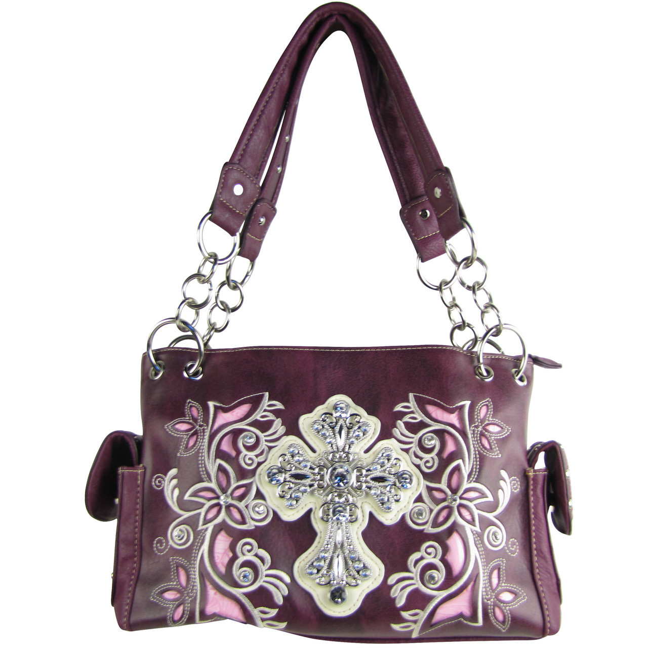 PURPLE FLOWER RHINESTONE CROSS LOOK SHOULDER HANDBAG HB1-84LCRPPL