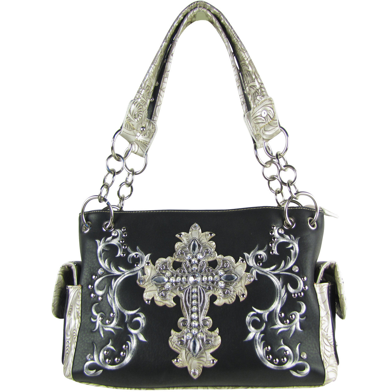 BLACK RHINESTONE CROSS LOOK SHOULDER HANDBAG HB1-64LCRBLK
