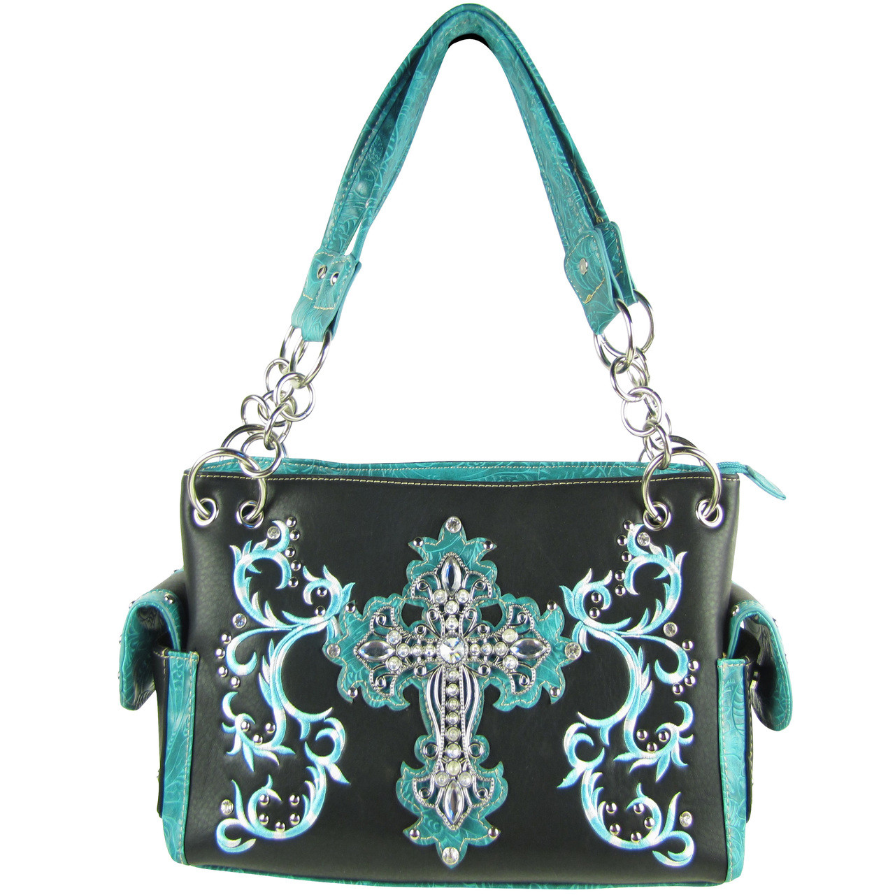 BLACK TURQUOISE RHINESTONE CROSS LOOK SHOULDER HANDBAG HB1-64LCRBLK/TRQ