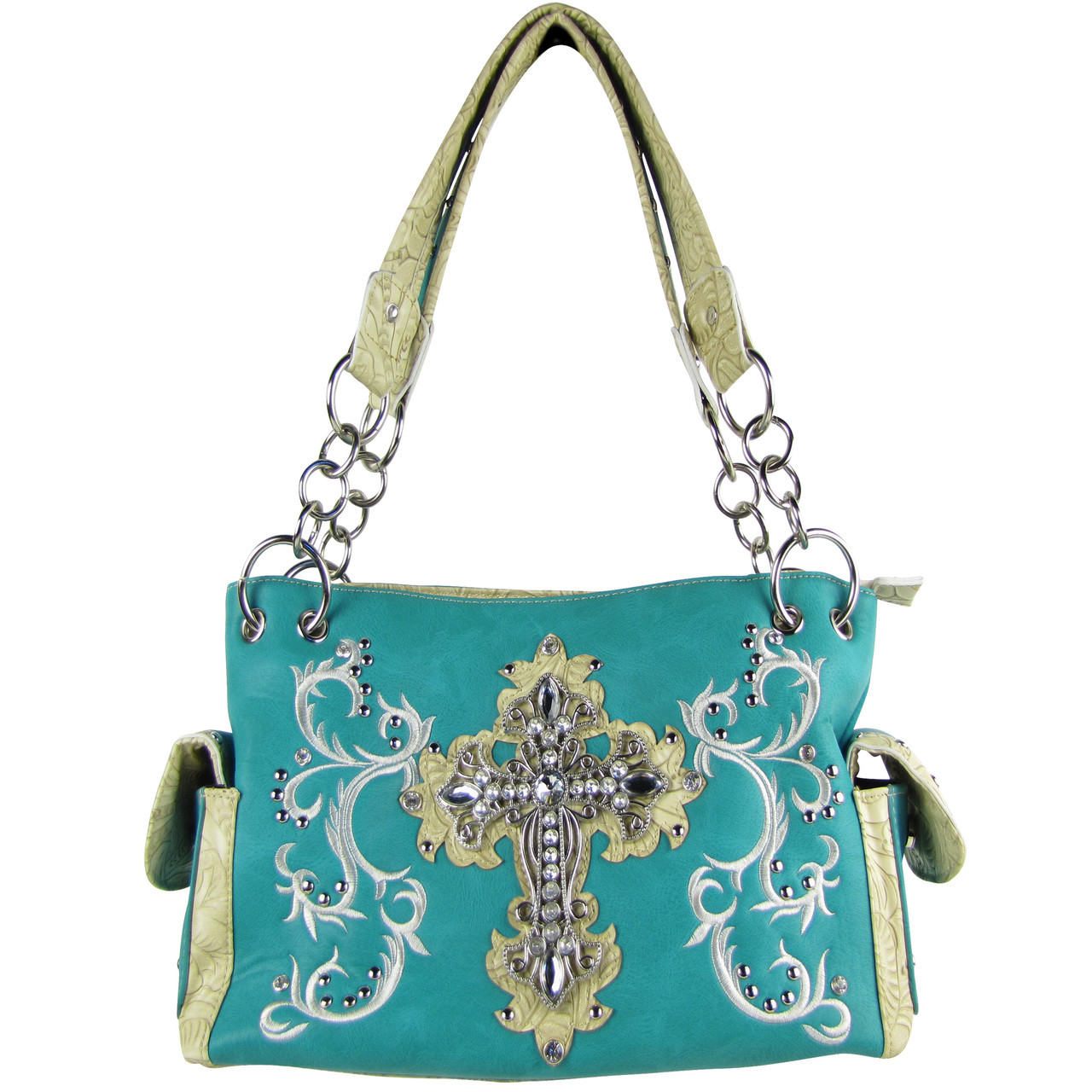 TURQUOISE RHINESTONE CROSS LOOK SHOULDER HANDBAG HB1-64LCRTRQ