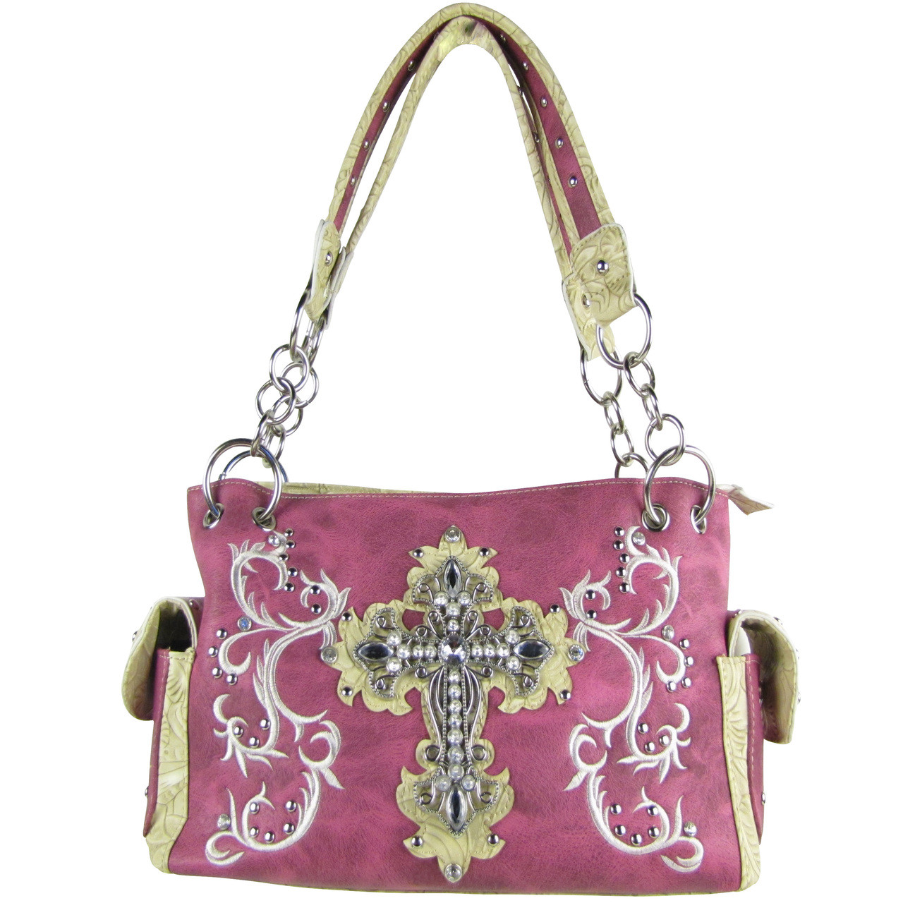 PURPLE RHINESTONE CROSS LOOK SHOULDER HANDBAG HB1-64LCRPPL