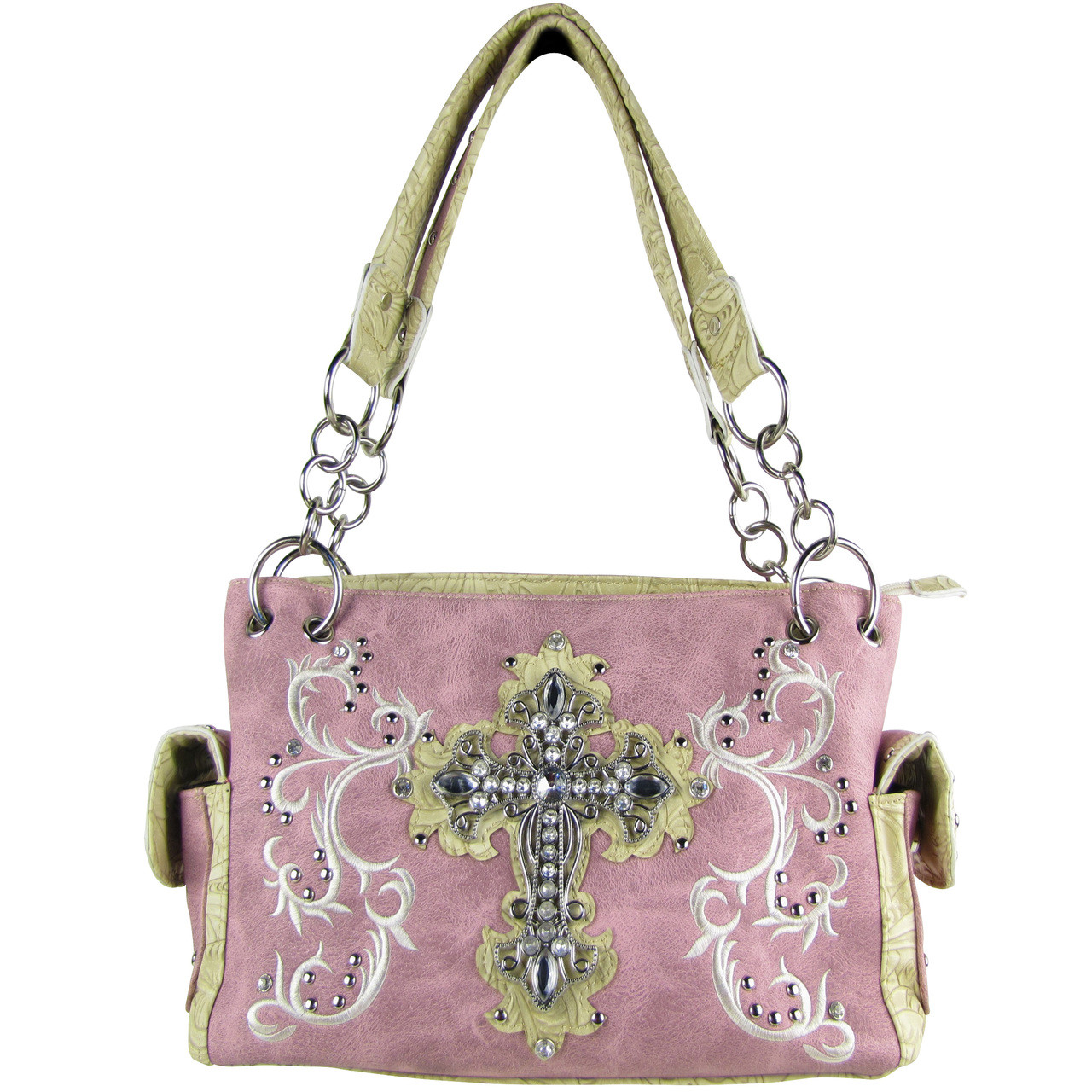 PINK RHINESTONE CROSS LOOK SHOULDER HANDBAG HB1-64LCRPNK