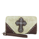 BEIGE WESTERN RHINESTONE CROSS LOOK ZIPPER WALLET CB3-0403BEI