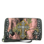 BLACK MOSSY CAMO RHINESTONE CROSS LOOK ZIPPER WALLET CB3-0404BLK