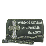 BLACK BIBLE VERSE RHINESTONE CROSS LOOK ZIPPER WALLET CB3-0405BLK