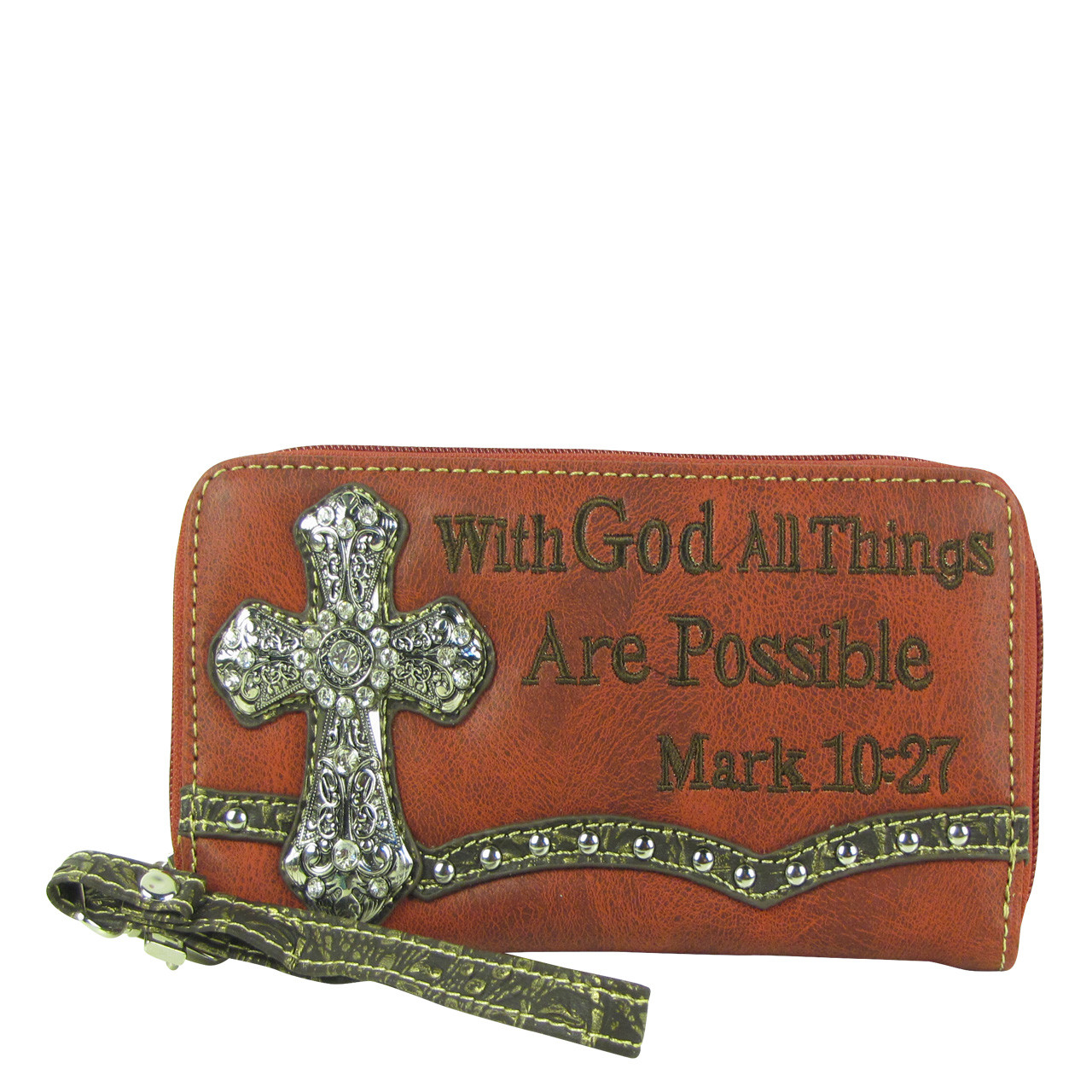 RED BIBLE VERSE RHINESTONE CROSS LOOK ZIPPER WALLET CB3-0405RED