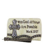 BEIGE BIBLE VERSE RHINESTONE CROSS LOOK ZIPPER WALLET CB3-0405BEI