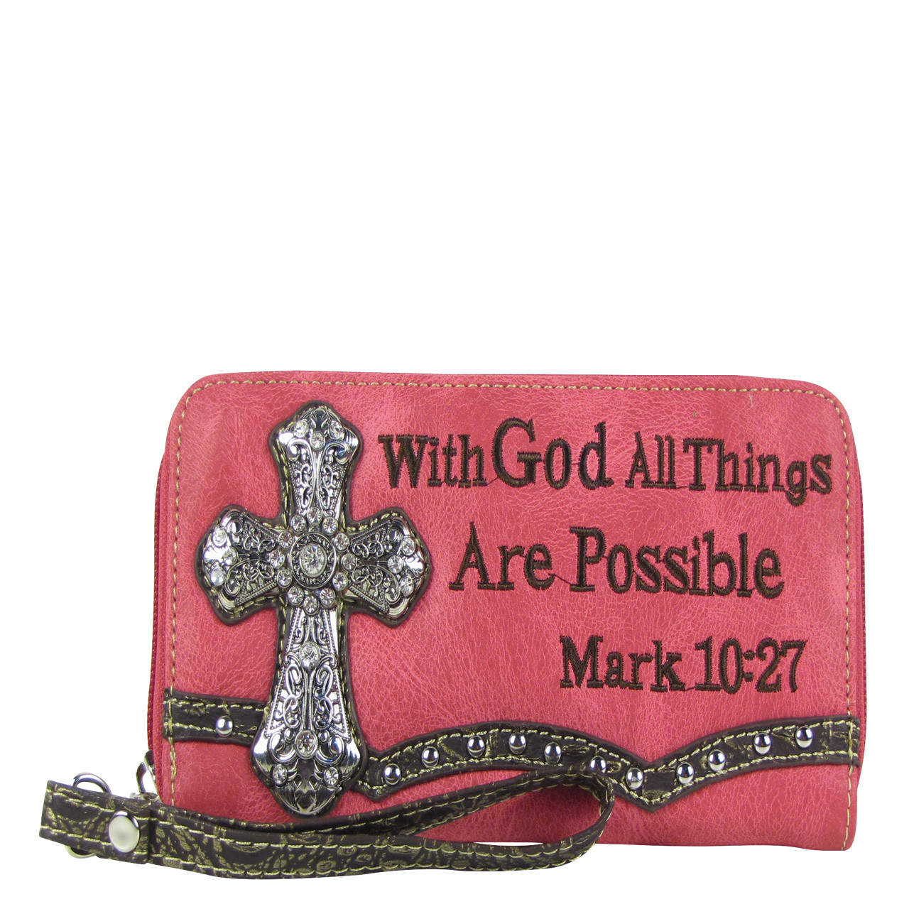 HOT PINK BIBLE VERSE RHINESTONE CROSS LOOK ZIPPER WALLET CB3-0405HPK